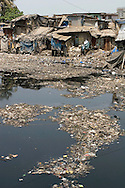 A residential area close to the big garbage dump in Deonar, Mankhurd, Bombay, India