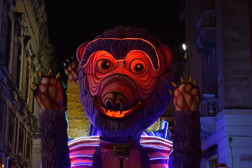 Bear Float illuminated at night