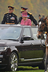 © Licensed to London News Pictures. 19/10/2017. London, UK. Queen Elizabeth II reviews The King's Troop Royal Horse<br />