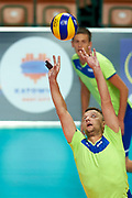 Katowice, Poland - 2017 September 03: Athlete Viacheslav Zbikovskiy from SO Russia receives the ball while final match between SO Russia and SO Finland during European Unified Volleyball Tournament 2017 at Spodek Hall on September 03, 2017 in Katowice, Poland.<br /> <br /> Adam Nurkiewicz declares that he has no rights to the image of people at the photographs of his authorship.<br /> <br /> Picture also available in RAW (NEF) or TIFF format on special request.<br /> <br /> Any editorial, commercial or promotional use requires written permission from the author of image.<br /> <br /> Image can be used in the press when the method of use and the signature does not hurt people on the picture.<br /> <br /> Mandatory credit:<br /> Photo by &copy; Adam Nurkiewicz / Mediasport