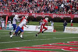 17 October 2009:  Eyad Salem turns a pass reception into a touchdown. The Indiana State Sycamores tumble to the Illinois State Redbirds 38-21 at Hancock Stadium on campus of Illinois State University in Normal Illinois