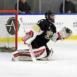 BUFFALO, NY - SEP 21,  2017: Ontario Junior Hockey League Governors Showcase game between the Trenton Golden Hawks and Milton Icehawks, Carson Poulin #1 of the Trenton Golden Hawks makes the save during the second period.<br /> (Photo by Andy Corneau / OJHL Images)