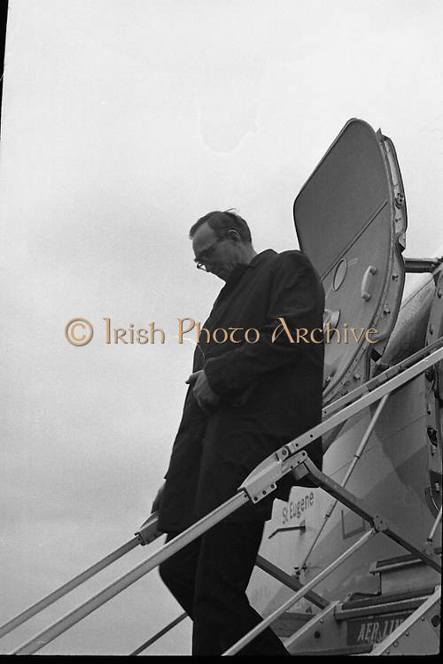 Archbishop Ryan Returns From Rome..1972..16.02.1972..02.16.1972..16th February 1972..After his official appointment as Archbishop of Dublin by Pope Paul VI, Dr Dermot Ryan returned to Dublin for his installation as Archbishop on Feb 22nd at the Pro Cathedral,Dublin.