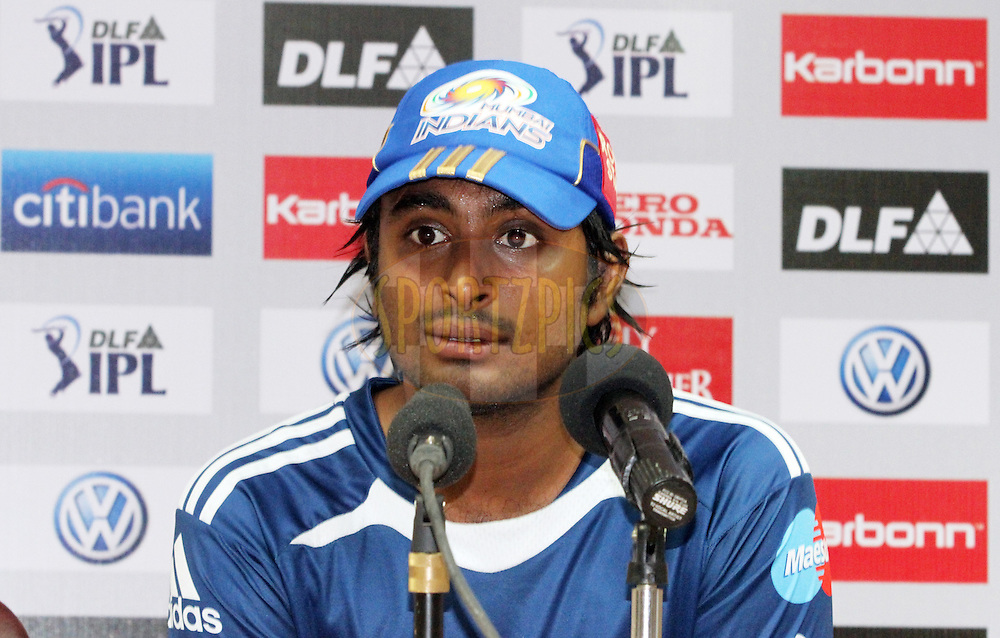 Ambati Rayudu of Mumbai Indians addressing the press during match 8 of the the Indian Premier League ( IPL ) Season 4 between the Royal Challengers Bangalore and the Mumbai Indians held at the Chinnaswamy Stadium, Bangalore, Karnataka, India on the 12th April 2011..Photo by Mahesh Jha/BCCI/SPORTZPICS