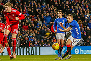 Scott Arfield shoots during the William Hill Scottish Cup quarter final replay match between Rangers and Aberdeen at Ibrox, Glasgow, Scotland on 12 March 2019.