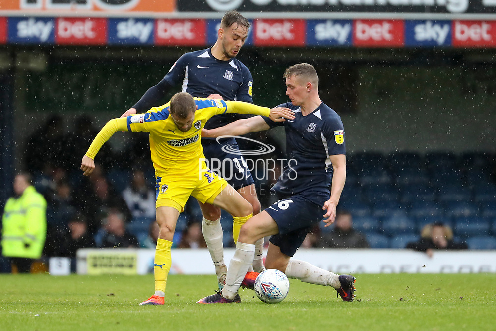 AFC Wimbledon attacker Shane McLoughlin (19) battles for possession during the EFL Sky Bet League 1 match between Southend United and AFC Wimbledon at Roots Hall, Southend, England on 12 October 2019.