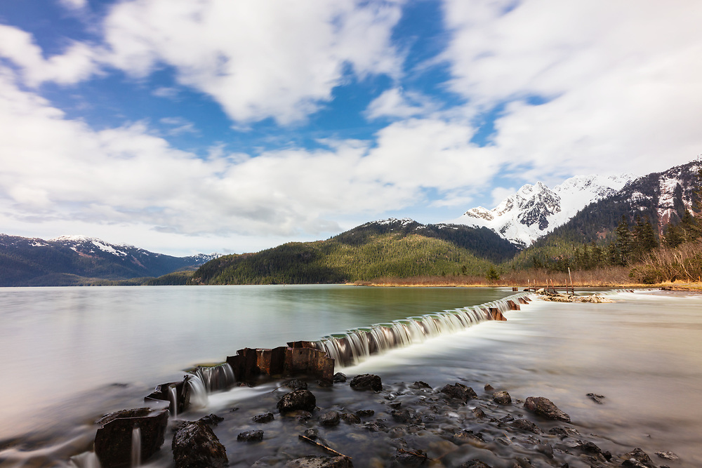 Long exposure of Eyak Lake in Cordova in Southcentral Alaska. Spring. Afternoon.