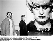 Salman Rushdie in front of the Myra Hindley painting. Sensation Opening. Royal Academy of Art. London.16 September 1997. Film 97262f5<br />© Copyright Photograph by Dafydd Jones<br />66 Stockwell Park Rd. London SW9 0DA<br />Tel 0171 733 0108