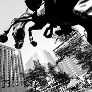 During the 2010 Fiesta Hispana in downtown Kansas City in September I grabbed this shot of the horse statue on the premises.