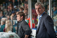 KELOWNA, CANADA - DECEMBER 27: Kim Dillabaugh, goalie coach of the Kelowna Rockets stands on the bench against the Kamloops Blazers on December 27, 2013 at Prospera Place in Kelowna, British Columbia, Canada.   (Photo by Marissa Baecker/Shoot the Breeze)  ***  Local Caption  ***