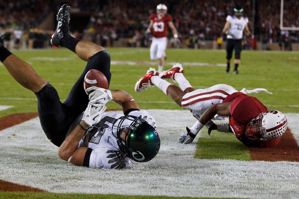 Nov 12, 2011; Stanford CA, USA;  Oregon Ducks tight end David Paulson (42) is unable to control a catch in the end zone against the Stanford Cardinal during the third quarter at Stanford Stadium.  Mandatory Credit: Jason O. Watson-US PRESSWIRE