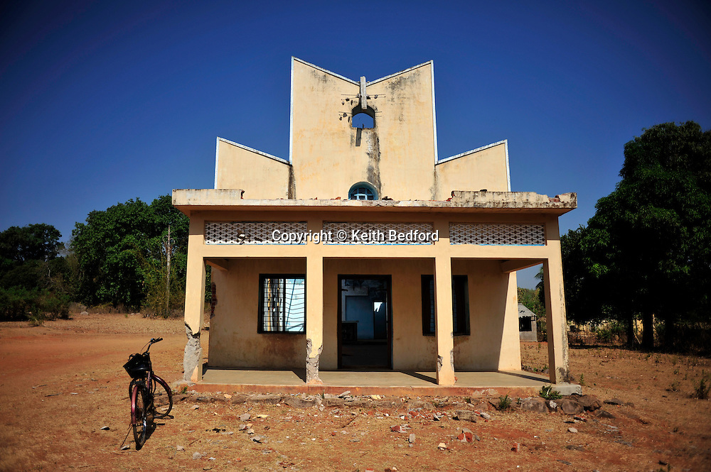 A church damaged during secular violence last August in near the town of Raikia in the state of Orissa, India, April 10, 2009. Tensions remain high in the area several months after violence by Hindu fundamentalist towards the Christian minority  forced thousands from their homes and leaving several churches and homes destroyed.