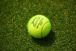 June 20, 2017 - London, United Kingdom - A tennis ball is seen on the lawn at AEGON Championships The Queen's Club, London on June 20, 2017. (Credit Image: © Alberto Pezzali/NurPhoto via ZUMA Press)