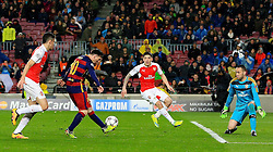 Lionel Messi of Barcelona scores his sides third goal  - Mandatory byline: Matt McNulty/JMP - 16/03/2016 - FOOTBALL - Nou Camp - Barcelona,  - FC Barcelona v Arsenal - Champions League - Round of 16