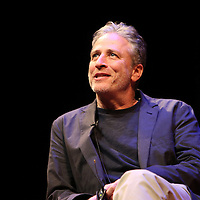 Director Jon Stewart is seen onstage as he speaks at the Berkeley Repertory Theatre about his new film Rosewater, on Tuesday, Oct 21, 2004. (Photo/Alex Menendez/ UC Berkeley Graduate School of Journalism)