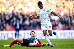 Marcus Rashford of England is tackled by Sime Vrsaljko of Croatia - Mandatory by-line: Robbie Stephenson/JMP - 18/11/2018 - FOOTBALL - Wembley Stadium - London, United Kingdom - England v Croatia - UEFA Nations League
