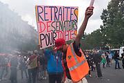 France, Paris, 14 June 2018. Protest march by retired. Railroad workers join at République.