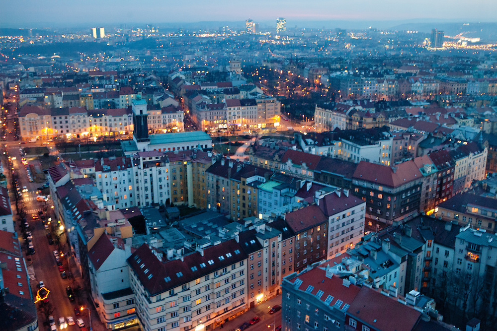 View from the Zizkov TV tower to the area around subway station Jiriho z Podebrad located at the border of Prague Zizkov and Vinohrady.