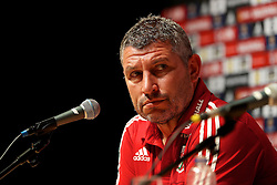 DINARD, FRANCE - Wednesday, June 22, 2016: Wales' assistant manager Osian Roberts during a press conference at their base in Dinard as they prepare for the Round of 16 match during the UEFA Euro 2016 Championship. (Pic by David Rawcliffe/Propaganda)