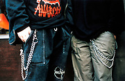 Two Nu metal teenage fans showing off their large wallet chains, uk 1990's
