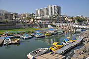 Israel, Tiberias, Fishing Harbour on the Sea of Galilee