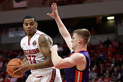 15 January 2016: Deontae Hawkins(23) defended by Adam Wing(12) during the Illinois State Redbirds v Evansville Purple Aces at Redbird Arena in Normal Illinois (Photo by Alan Look)