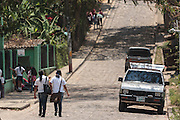 Girls walk back from school in the town of Valle de Angeles, Honduras on Friday April 26, 2013.