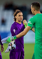 LONDON, ENGLAND - Friday, August 17, 2018: Liverpool's Lazar Markovic and Arsenal's goalkeeper Deyan Iliev before the Under-23 FA Premier League 2 Division 1 match between Arsenal FC and Liverpool FC at Meadow Park. (Pic by David Rawcliffe/Propaganda)
