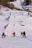 Snowboarders, Snowmass Terrain Park, Snowmass/Aspen ski resort, Snowmass Village (Aspen), Colorado USA.
