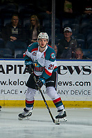 KELOWNA, CANADA - JANUARY 9: Schael Higson #21 of the Kelowna Rockets skates with the puck for his first game with the team against the Everett Silvertips on January 9, 2019 at Prospera Place in Kelowna, British Columbia, Canada.  (Photo by Marissa Baecker/Shoot the Breeze)