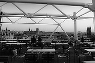 France. Paris elevated view and paris cityscape at dusk ,  view from Chez George cafe on the top of Beaubourg museum terrace