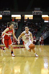 28 January 2007: Megan McCracken guarded by Erika Nelson. Before a record crowd or nearly 4200, the Bradley Braves were defeated by the conference leading (9-0) Redbirds of Illinois State University by a score of 55-47 at Redbird Arena in Normal Illinois.