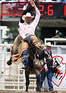 Bareback Rider Bobby Mote scores an 80 riding Shamrock, 26 July 2007, Cheyenne Frontier Days