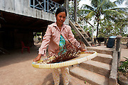 A women picker sorts and tosses the corns on a wicker tray.