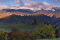 Cultural landscape and Piatra Craiului massif near Sirnea, Pasul Giuvala, Transylvania, Southern Carpathians, Romania