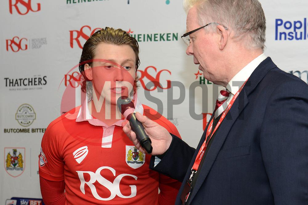 Bristol City's Luke Freeman is interviewed by David Lloyd - Photo mandatory by-line: Dougie Allward/JMP - Mobile: 07966 386802 - 10/02/2015 - SPORT - Football - Bristol - Ashton Gate - Bristol City v Port Vale - Sky Bet League One