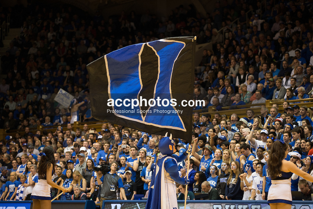DURHAM, NC - DECEMBER 05: A general view of the Duke Blue Devils logo on a flag as held by the mascot during a game against the Buffalo Bulls during a 59-82 Duke Blue Devils win on December 05, 2015 at Cameron Indoor Stadium in Durham, North Carolina. (Photo by Peyton Williams/Getty Images)