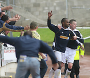 Fans invade the track as Freddie Daquin celebrates with Paul Dixon after netting Dundee's equaliser, St Johnstone v Dundee, McDiarmid Park, Perth, 18/08/2007