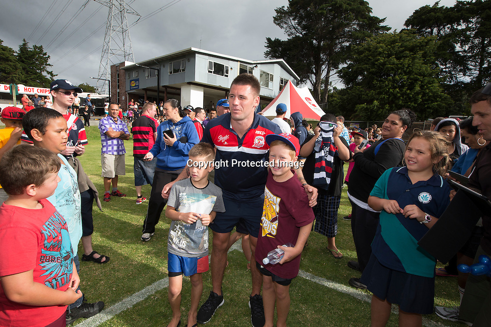 Shaun Kenny-Dowall with fans during the visit by the Sydney Roosters NRL Nines Rugby league team  to the Te Atatu Roosters Rugby League club in West Auckland, New Zealand. <br /> Picture; www.photosport.co.nz