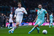 Leeds United forward Patrick Bamford (9) passes the ball during the EFL Sky Bet Championship match between Leeds United and Queens Park Rangers at Elland Road, Leeds, England on 2 November 2019.