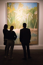 "Sotheby's, London, June 19th 2015. International auctioneers Sotheby's gears up to holding what they say is London's highest valued auction of contemporary artworks, to be held on June 24th 2015 where the combined artworks are anticipated to bring in as much as £203 million. PICTURED: Viewers admire Peter Doig's ""Pelican"", an oil on canvas painted in 2003-4, which is estimated will fetch betweem £6-8Million.  // Payment/Licencing/Contact details: Paul@pauldaveycreative.co.uk Tel: 07966016296"