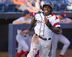 July 5, 2017 - Trenton, New Jersey, U.S - TITO POLO of the Trenton Thunder heads home to score on Billy Fleming's single in the first inning of the game vs. the Fightin Phils at ARM & HAMMER Park. (Credit Image: © Staton Rabin via ZUMA Wire)