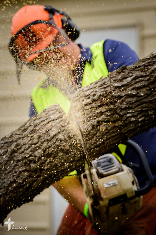 The Rev. Ed Brashier, Southern District Disaster Response Coordinator, chainsaws a damaged tree at a home on Tuesday, Feb. 6, 2018, in Rockport, Texas. LCMS Communications/Erik M. Lunsford