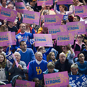 "02/05/12 Newark DE: Delaware fans hold up pink signs that says ""Dare To Be Strong"" during a Colonial Athletic Association game against the VCU Lady Rams, Feb. 5, 2012 at the Bob carpenter center in Newark Delaware...Special to The News Journal/SAQUAN STIMPSON"