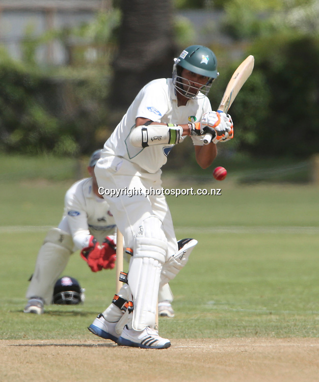 Stag's Jeet Raval plays a shot in the Plunket Shield cricket match between the Central Districts Stags and the Auckland Aces at Nelson Park, Napier,  New Zealand. Wednesday, 07 November, 2012. Photo: John Cowpland / photosport.co.nz