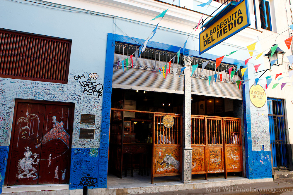 Central America, Cuba, Havana. La Bodeguita del Medio Bar in Havana, famous as the birthplace of the mojito, a favorite drink of Hemingway.