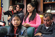 Immigrant Mario Vargas' daughter Jersey, 13,, left, speaks in a news conference before a court appearance on Thursday, Feb. 9, 2017 in Los Angeles. Vargas attended his first removal hearing before an immigration judge since being released from Immigration Detention in 2014. He is accompanied by his daughter, Jersey, who, when she was 10, traveled to Rome three years ago and asked Pope Francis - one day before he was to meet with President Barack Obama - to intervene to prevent her father's deportation.  (Photo by Ringo Chiu/PHOTOFORMULA.com)<br /> <br /> Usage Notes: This content is intended for editorial use only. For other uses, additional clearances may be required.