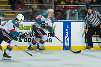 KELOWNA, CANADA - FEBRUARY 2: Conner Bruggen-Cate #20 of the Kelowna Rockets skates with the puck against the Everett Silvertips  on FEBRUARY 2, 2018 at Prospera Place in Kelowna, British Columbia, Canada.  (Photo by Marissa Baecker/Shoot the Breeze)  *** Local Caption ***