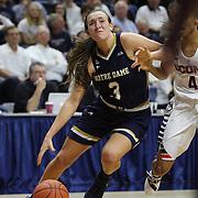 Marina Mabrey, (left), Notre Dame, drives past Moriah Jefferson, UConn, during the Notre Dame Vs UConn Women's Basketball game at Grampel Pavilion, Storrs, Connecticut, USA. 5th December 2015. Photo Tim Clayton