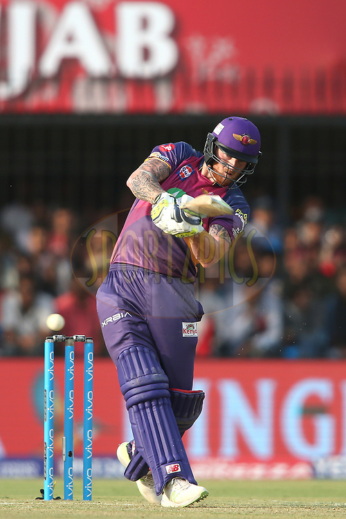 Ben Stokes of Rising Pune Supergiant pulls a delivery through the leg side during match 4 of the Vivo 2017 Indian Premier League between the Kings XI Punjab and the Rising Pune Supergiant held at the Holkar Cricket Stadium in Indore, India on the 8th April 2017<br /> <br /> Photo by Shaun Roy - IPL - Sportzpics